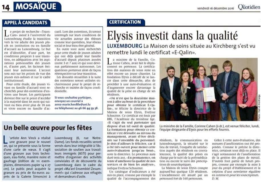 Elysis investit dans la qualité